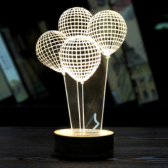 Balloon Shape 3D LED Night Light Free CDR Vectors Art
