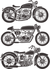 Vintage Motorcycle Set Free CDR Vectors Art