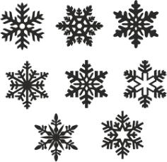 snowflake icons set Free CDR Vectors Art