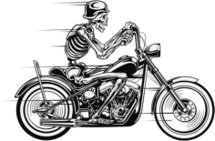 Vector Skull Motorcycle Free CDR Vectors Art