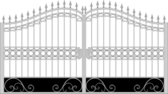 Iron Fancy Gate Boundary Wall Gate Design Free CDR Vectors Art