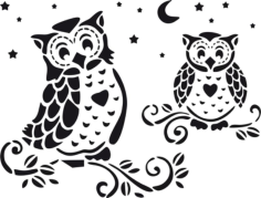 Owl Home Decor Stencil Free CDR Vectors Art