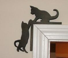 Cute Kitten Silhouette Door Topper Free CDR Vectors Art