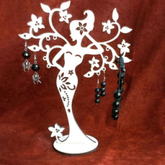 Woman Tree Stand for jewelry Free CDR Vectors Art