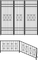 Wrought iron stair railing design Free CDR Vectors Art