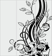 Sandblasting glass designs Flowers Free CDR Vectors Art