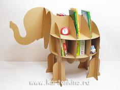 Elephant Cardboard Shelf Free CDR Vectors Art