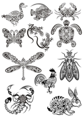 Ornament Animals Tribal Tattoo Designs Free CDR Vectors Art