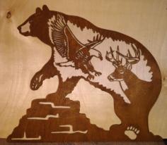 Bear Eagle Plasma Cut Free CDR Vectors Art