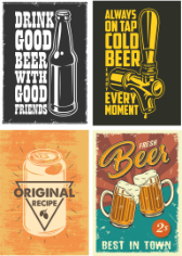 Retro Beer Posters 1 Free CDR Vectors Art