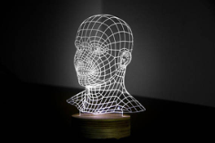 HEAD 3d illusion acrylic lamp Free CDR Vectors Art