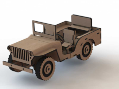 Jeep 3D Wooden Puzzle Laser Cut Free CDR Vectors Art
