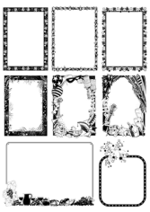 Black and white Border Frame with Floral Patterns Free CDR Vectors Art