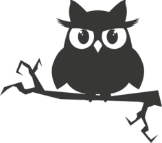 Owl on a branch sticker Free CDR Vectors Art