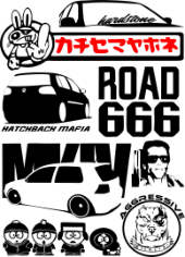 Stickers on Cars Set Free CDR Vectors Art