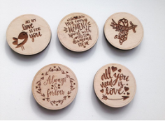 Wooden Magnets Laser Engraved Free CDR Vectors Art