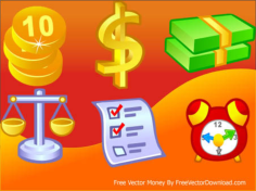 6 free vector money icons Free CDR Vectors Art