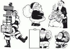 Monochrome santa atlas Free CDR Vectors Art