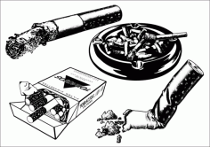 Cigarette with Case Free CDR Vectors Art