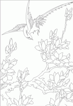 Birds in the branches around Free CDR Vectors Art