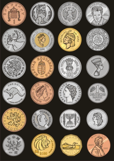 commemorative coins around the world Free CDR Vectors Art