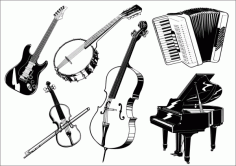 Musical instrument the class Free CDR Vectors Art