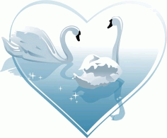 Heartshaped white swan Free CDR Vectors Art