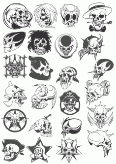 Skull Tattoo Pack Free CDR Vectors Art