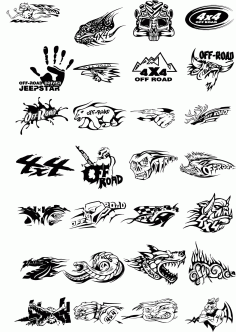 Off Road Stickers Side Decals Free CDR Vectors Art