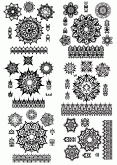 Mandala Ornament Set Free CDR Vectors Art
