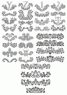 Linear Border Ornaments Seamless Pattern Set Free CDR Vectors Art