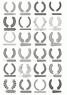 Laurel Wreaths Set Free CDR Vectors Art
