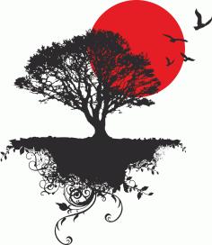 Japanese Tree Bird Free CDR Vectors Art