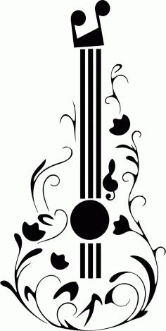 Guitar Tattoo Design Free CDR Vectors Art