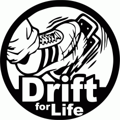 Drift For Life Auto Sticker Free CDR Vectors Art