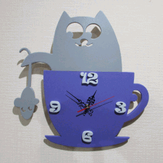 Cat Clock Free CDR Vectors Art