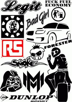 Car Sticker Free CDR Vectors Art
