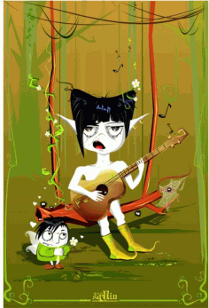 Playing guitar monster Free CDR Vectors Art