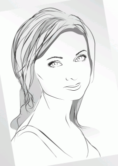 Girl in Sketch Lines Free CDR Vectors Art