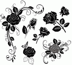 Handpainted flowers-02179630 Free CDR Vectors Art