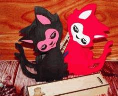 Cat Pencil Box File Download For Cnc Cut Free CDR Vectors Art