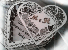 M And H heart-shaped Box Download For Laser Cut Cnc Free CDR Vectors Art