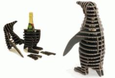 Penguins Wine Box File Laser Cut Free CDR Vectors Art
