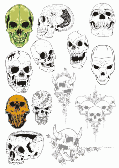 Broken Cracked Skulls Collection File Free CDR Vectors Art