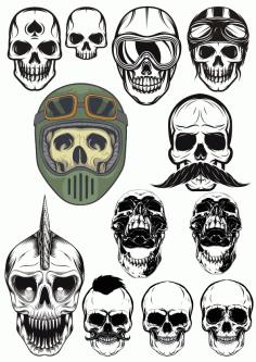 Evil Skull Set File Free CDR Vectors Art
