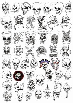 Horror Skulls Art Collection File Free CDR Vectors Art