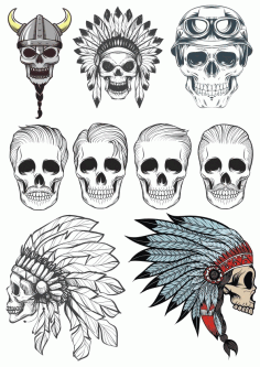 Indian Skull Pack File Free CDR Vectors Art