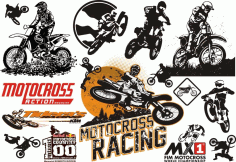 Motocross Set File Free CDR Vectors Art