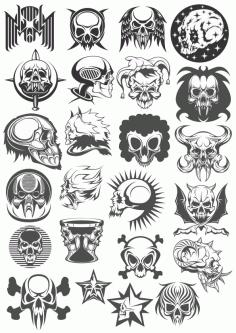Skull Head Set File Free CDR Vectors Art