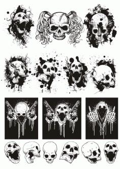 Skull t-shirt Designs Logos Set File Free CDR Vectors Art